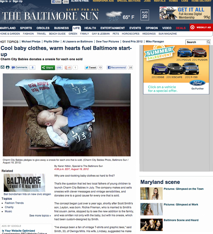 Baltimore Sun Richie Frieman Charm City Babies