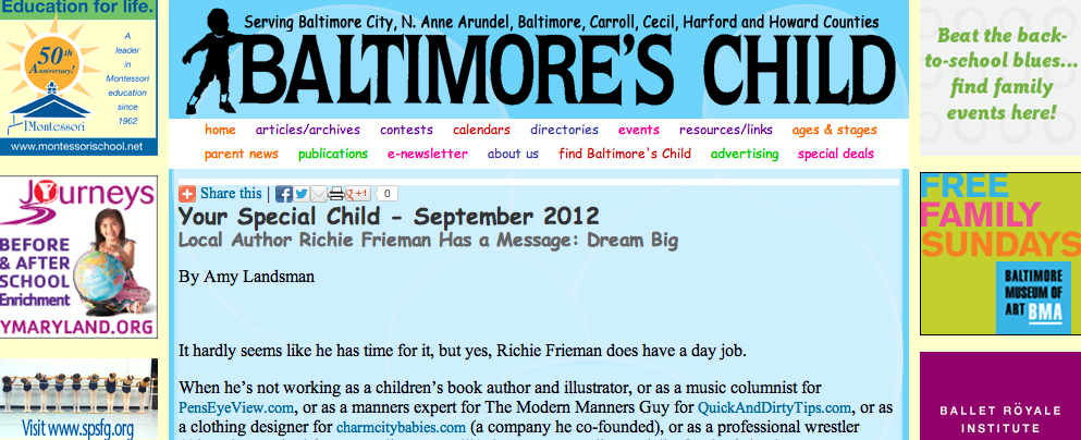 Baltimore Child Magazine Richie Frieman Terple