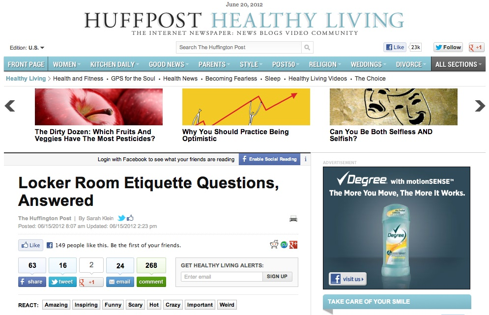 Huffington Post Locker Room Etiquette Richie Frieman